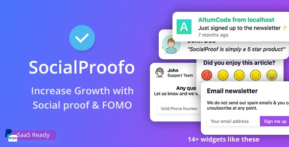 SocialProofo - 14+ Social Proof & FOMO Notifications for Growth (SaaS Ready) - CodeCanyon Item for Sale