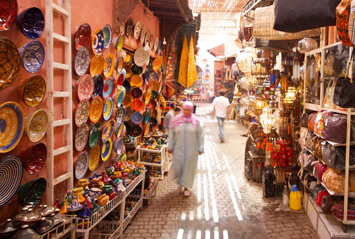 In the souk, or marketplace, of Marrakesh, Morocco.