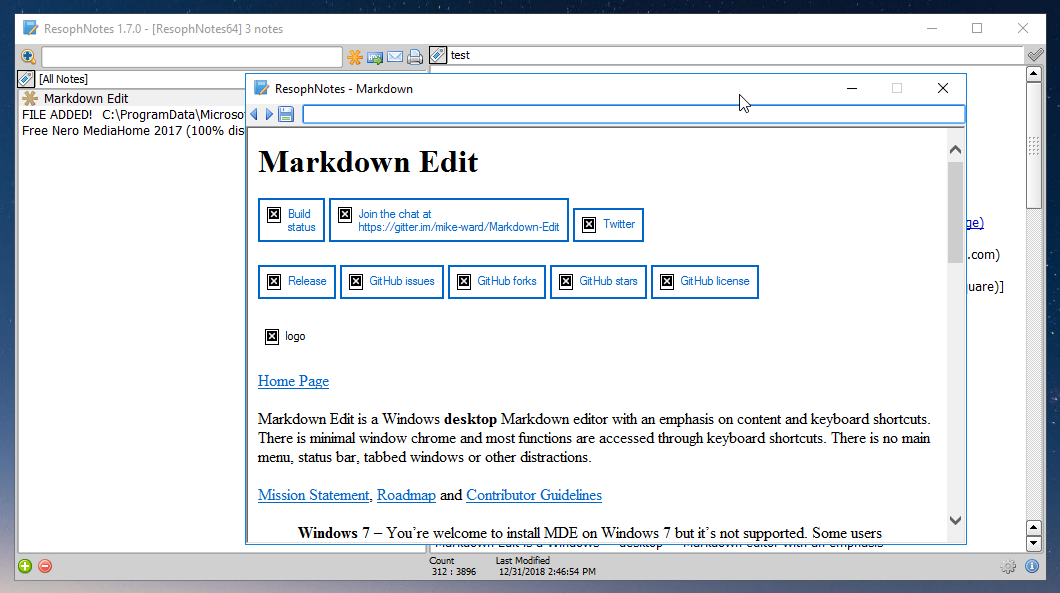appmarsh.com ResophNotes portable, Markdown preview...