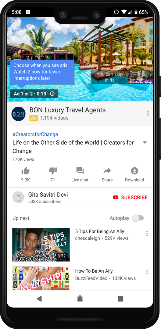 Ad pod experience on mobile