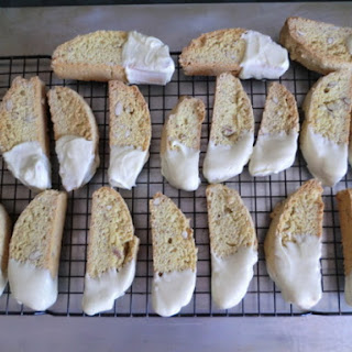White Chocolate Dipped Lemon-Almond Biscotti.