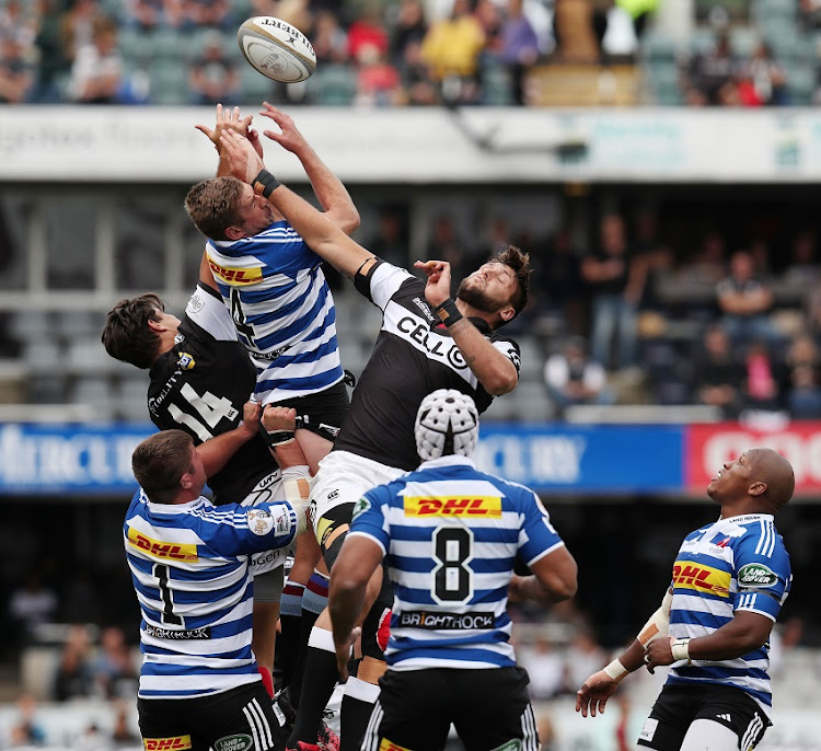 Chris van Zyl of the Western Province challenged by Ruan Botha of the Sharks during 2017 Curie Cup match between Sharks and Western Province at GrowthPoint Kings Park, Durban South Africa on 28 October 2017.
