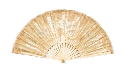 Beige silk hand fan
