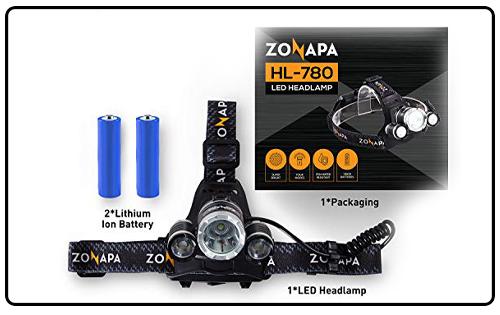 ZONAPA Rechargeable LED Headlamp Head Mounted Flashlight Waterproof