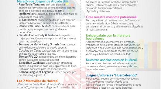 Huércal de Almería presenta una batería de actividades para el confinamiento