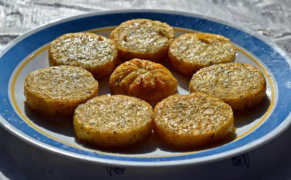 Hot Air Fried Polenta  Rounds Recipe