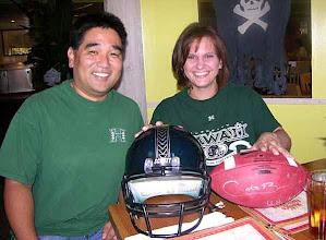 Photo: Garret's Warrior helmet and Colt Brennan autographed football. King's Bakery & Restaurant - Torrance, CA 10/16/2007