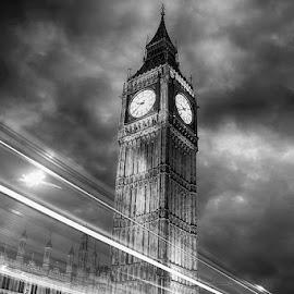 Clock Tower by Abdul Rehman - Black & White Buildings & Architecture ( uk, clock tower, night scene, night time, nightscape, lights, night photo, london, night photography, nighttime, night, night shot, night sky, nightlife,  )