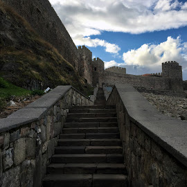 Leading to Rabati Castle by Leyon Albeza - Instagram & Mobile iPhone ( travel photography, travel location, cobbled stone, castle, ruins, stairway, stone castle, steps )