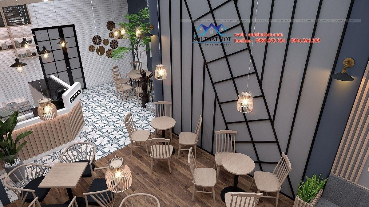 thiết kế quán trà sữa green 4