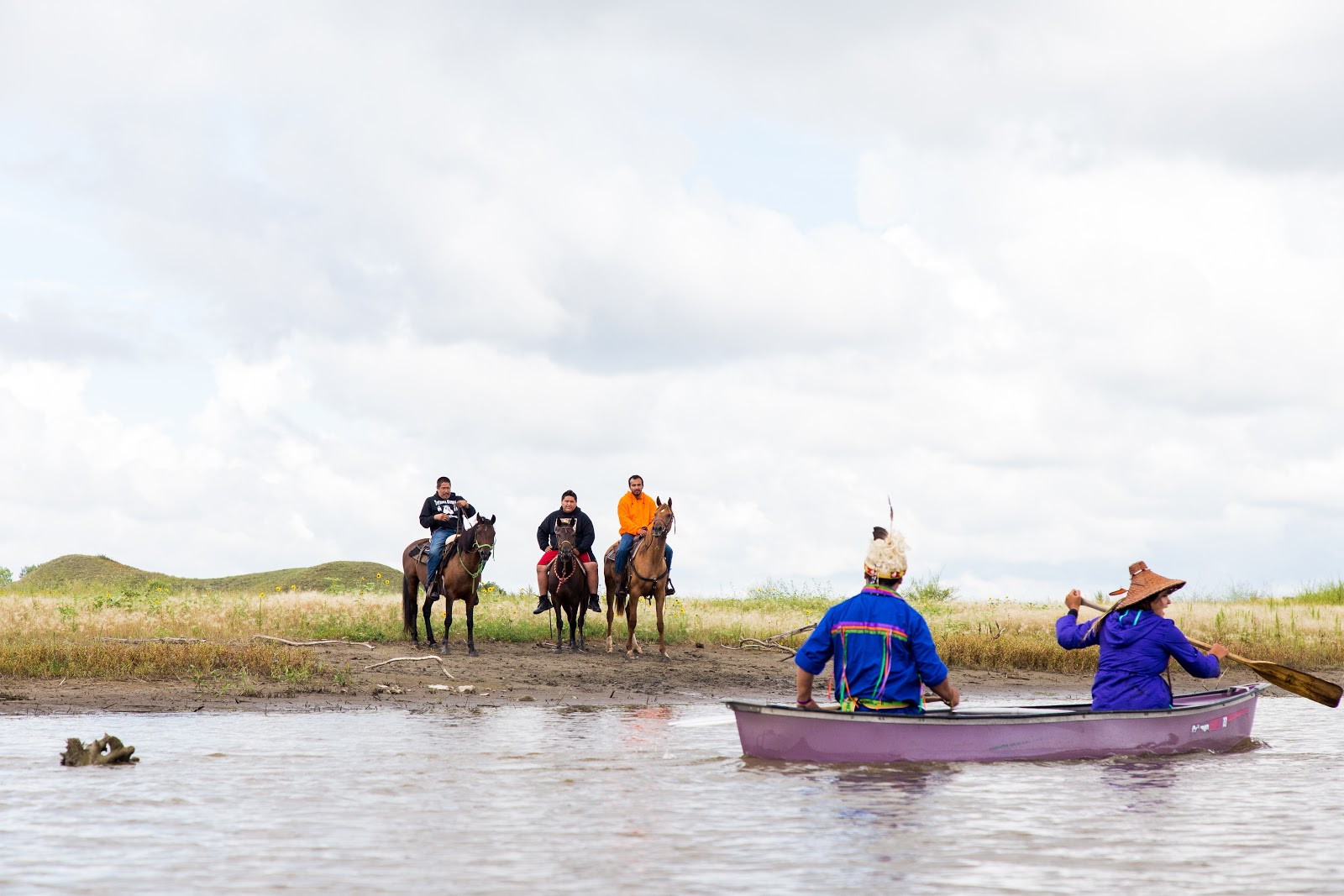 Horses lined the shore as canoers paddled out to express opposition to the Dakota Access Pipeline. (Photo: Alex Hamer)