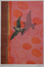 Photo: Little Bird in a Pink Sky, 16 x 11, monotype with collage