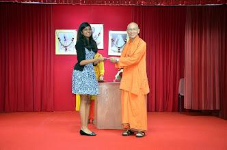 Photo: Miss Karthigha P Rajuoo (A level) receiving the Award from Swamji