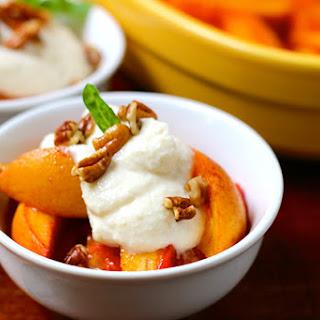 Vanilla Roasted Peaches with Honey Whipped Ricotta, Pecans & Basil.