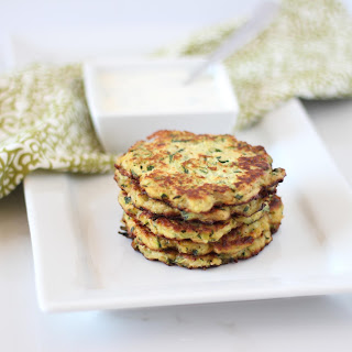 Goat Cheese and Zucchini Fritters with Garlic, Chive Yogurt Sauce