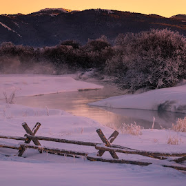 Teton River at Sunset by Chad Roberts - Landscapes Waterscapes ( teton river, bush, snow, sunset, tree, cold, river, fence )
