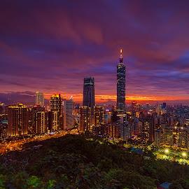 Taipei 101 by Gordon Koh - City,  Street & Park  Vistas ( taipei 101, taiwan, taipei, dusk, sunset, nightscape, cityscape, sony a7rii, skyscraper, tall building )