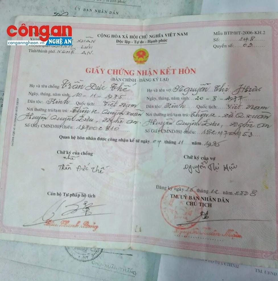 UBND xã Quỳnh Xuân công nhận chị Hựu và anh Thế có quan hệ hôn nhân từ năm 1996
