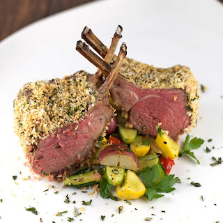 Panko Herb Crusted Rack of Lamb with Vegetables