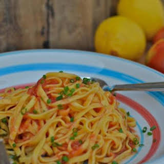 Pasta with Raw Tomato & Lemon Infused Olive Oil.