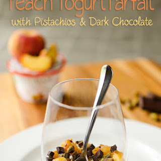 Peach Yogurt Parfait with Pistachios and Dark Chocolate