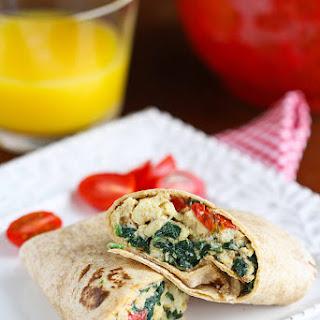 Scrambled Egg Wrap Recipe with Spinach, Tomato & Feta Cheese Recipe