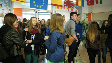 Photo: Part of the group in the lobby of the school