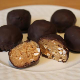 Dark Chocolate Peanut Butter Crunch Balls.