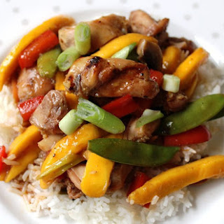 Vegetable Mango Stir Fry with Grilled Chicken.