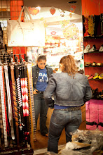 Photo: Trying on a new belt, New York City
