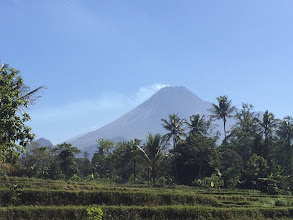 Photo: The volcano (Mt. Merapi) behind the conference resort, still active judging by the plume of smoke. Courtesy of Anja Tanhane.