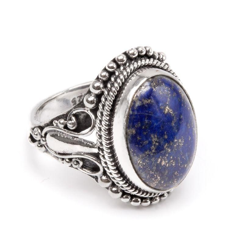 Lapis Lazuli, silverring med filigran