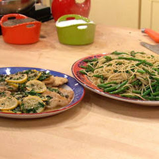 Chicken or Fish Piccata and Thin Spaghetti with Asparagus, Green Beans and Peas