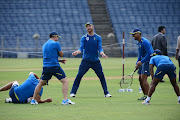 Heinrich Klaasen (C) and team mates doing fielding during the South African national men's cricket team training session and press conference at Maharashtra Cricket Association Stadium on October 08, 2019 in Pune, India.