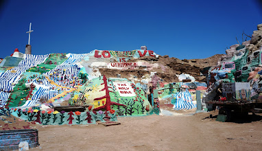 Photo: Salvation Mountain is made from adobe, straw, and thousands of gallons of paint.