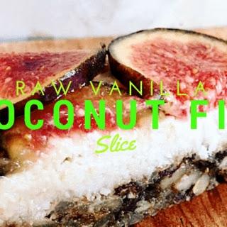 Raw Vanilla Coconut Fig Slice.