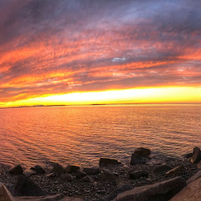 Panoramic sunset  by Ann Goldman - Landscapes Sunsets & Sunrises ( bayside, sunset, panoramic, cloudscape, clouds )