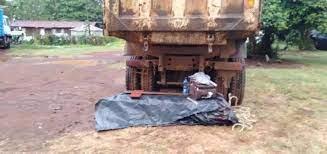 Faith Mwende's casket lying under a lorry