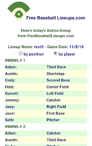 Free Baseball Lineups.com screenshot 6