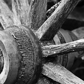 wagon wheel black & white by Dave Feldkamp - Black & White Objects & Still Life ( black and white, wagon wheel, wagon )