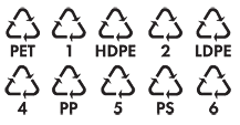 The symbols that indicate that your plastic is safe for recycling.