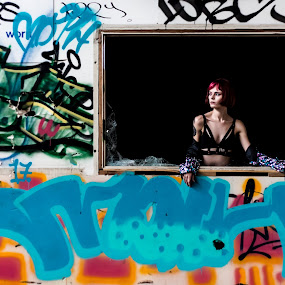 The World Outside by Gary Pore - People Portraits of Women ( red hair, tattoo, woman, grafitti, window, portrait )