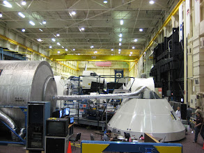 Photo: ISS Module (left) and Orion Crew Module Mock-Up (right) at JSC Space Mockup-Facility (Bldg 9) in Houston, Texas.