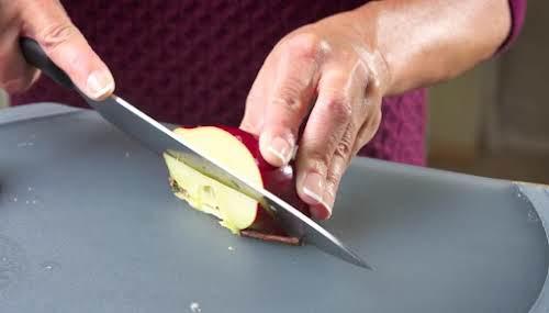 Step 3. Make a diagonal cut to remove core.