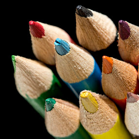 Color Pencils by Siew Feun Kylemark - Artistic Objects Still Life ( pwcstilllife-dq, macro, stationary, color pencils, colorful, still life, table top, pencils )