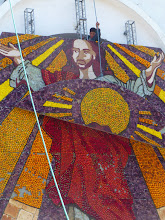 Photo: Disassembling the cathedral decoration for the Festival of Fruits and Flowers