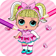 Cute Dolls Gliter Coloring Pages