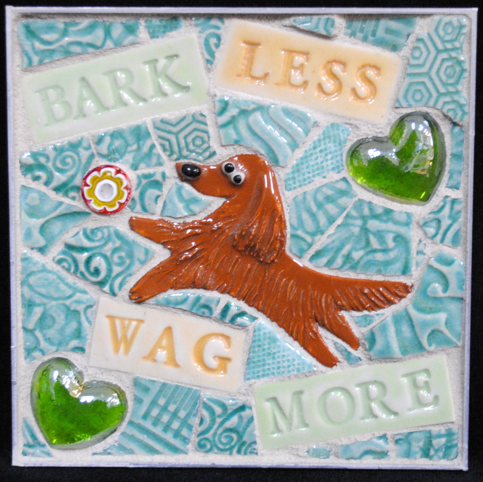 Bark Less Wag More Golden Retriever Mini Mosaic by Brenda Pokorny