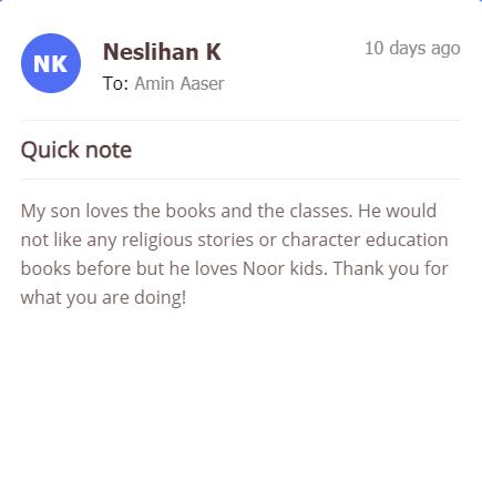 Noor Kids customer testimonial