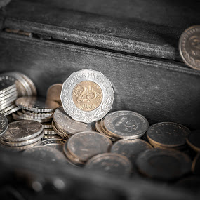 Money chest by Ivica Bajčić - Artistic Objects Other Objects ( coins, black and white, croatia, money, chest, photography, currency )